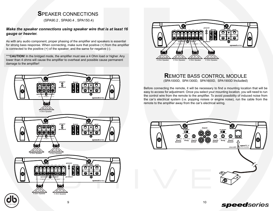 db_e9 10, peaker connections, emote bass control module db drivedb_e9 10, peaker connections, emote bass control module db drive speed series amplifier spa spa90 2 user manual page 6 16