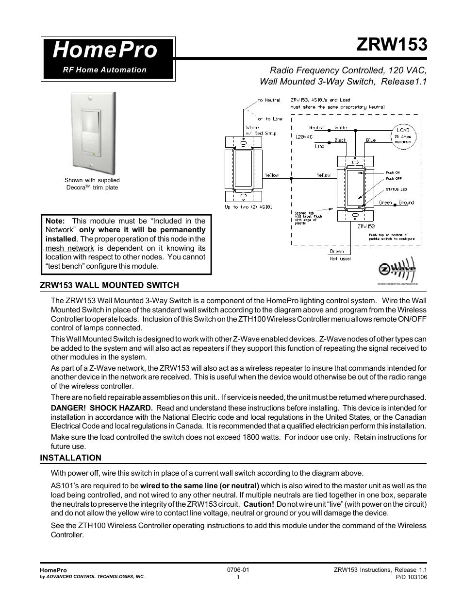 Advanced Control Technologies Specs Instructions ZRW153I (RF 120 VAC ...