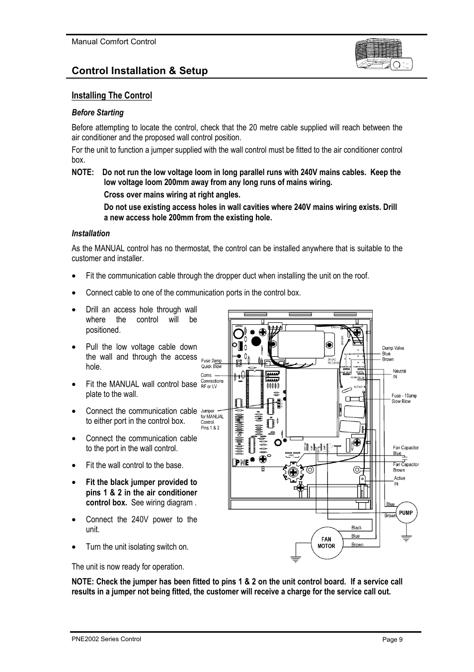 Control Installation Setup Installing The Before Drill Wiring Diagram Starting Bonaire Deluxe Lv Pne User Manual Page 9 20