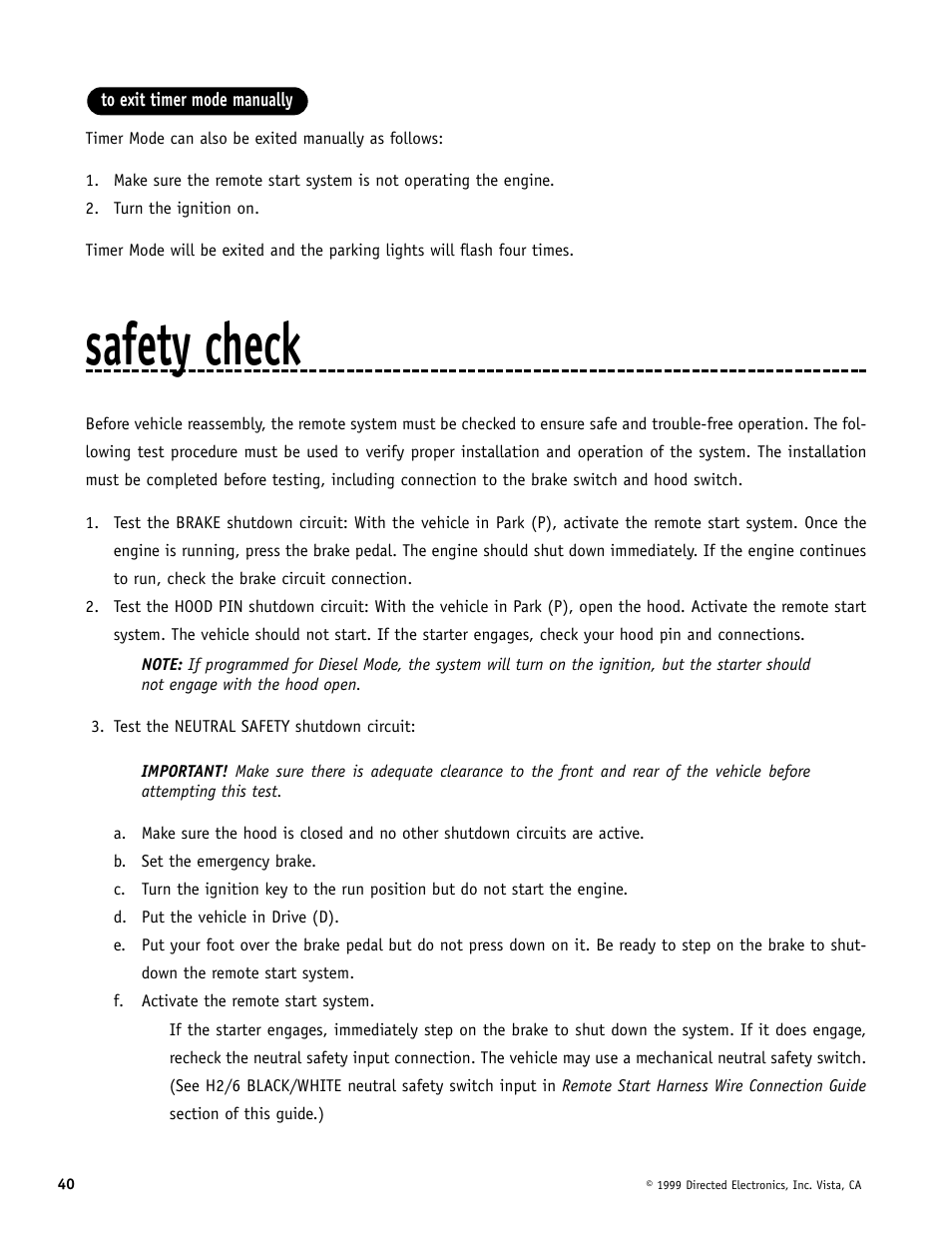 Safety check   Directed Electronics Automate 552 User Manual   Page 40 / 42