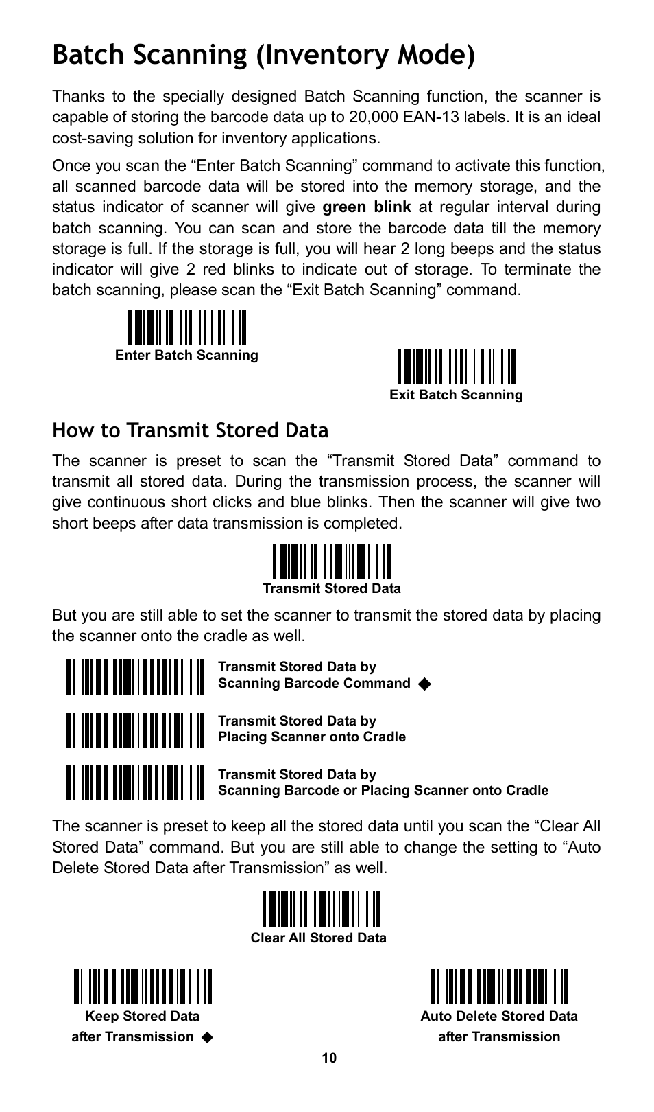 Batch scanning (inventory mode), How to transmit stored data