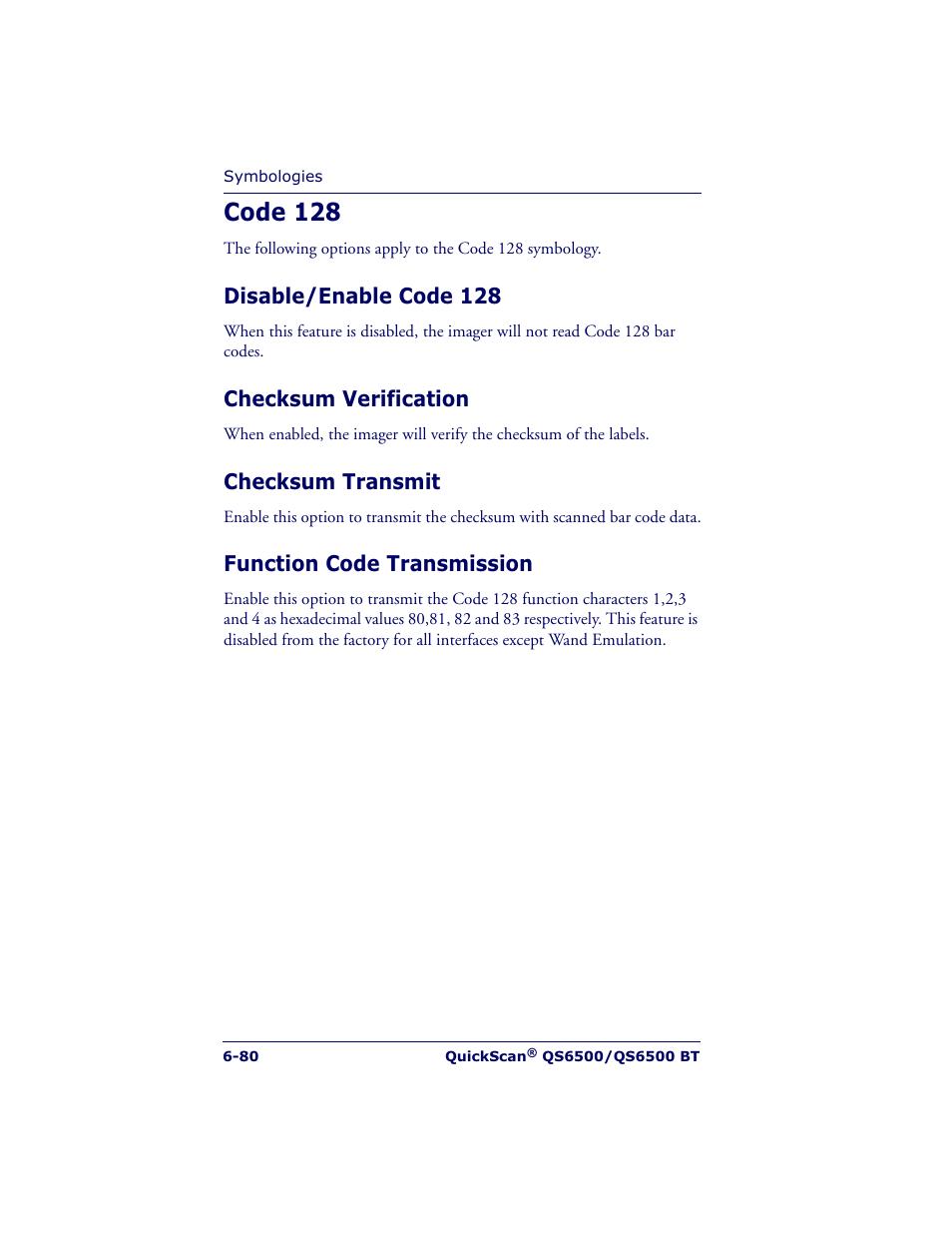 Code 128, Disable/enable code 128, Checksum verification | Datalogic  Scanning QUICKSCAN QS6500BT User Manual | Page 168 / 336