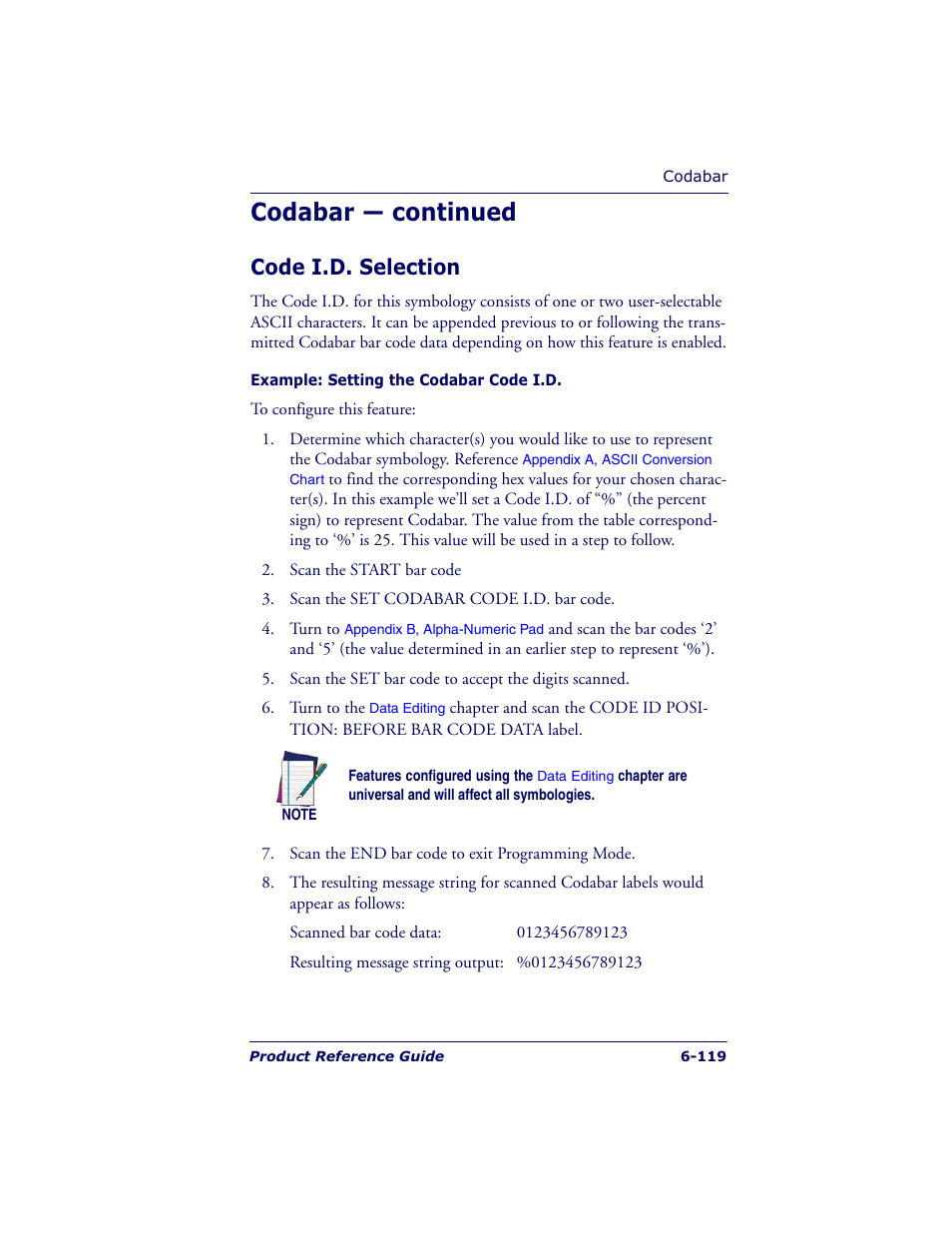 Codabar — continued, Code i.d. selection | Datalogic Scanning QUICKSCAN QS6500BT  User Manual | Page 207 / 336