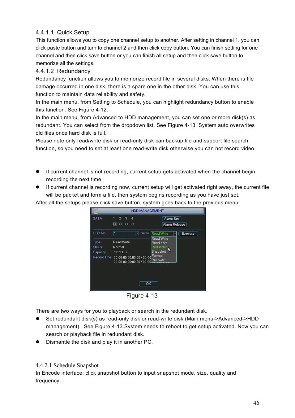 1 quick setup, 2 redundancy, 2 snapshot | Dahua Technology HE-T User