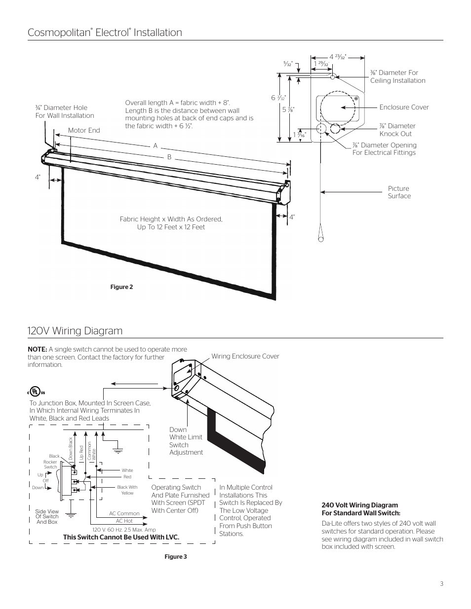 Cosmopolitan Electrol Installation 120v Wiring Diagram Da Lite 240 Volt Wire User Manual Page 3 8