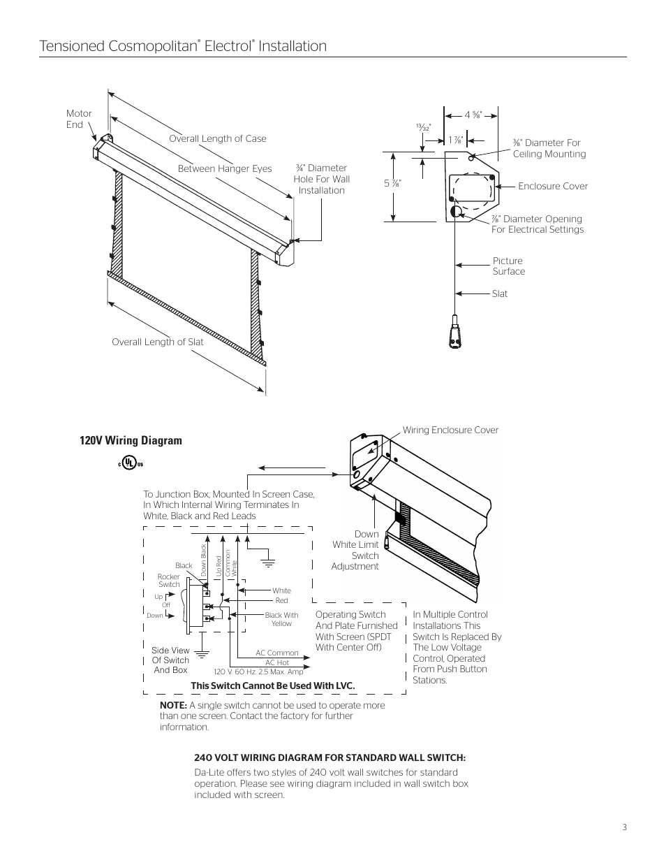 Tensioned Cosmopolitan Electrol Installation Da Lite Switch Box Electrical Schematic Wiring User Manual Page 3 8