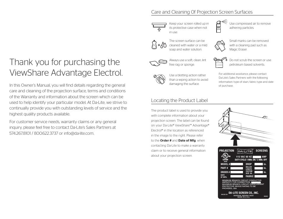 Da Lite Viewshare Advantage Electrol User Manual Page 2 2