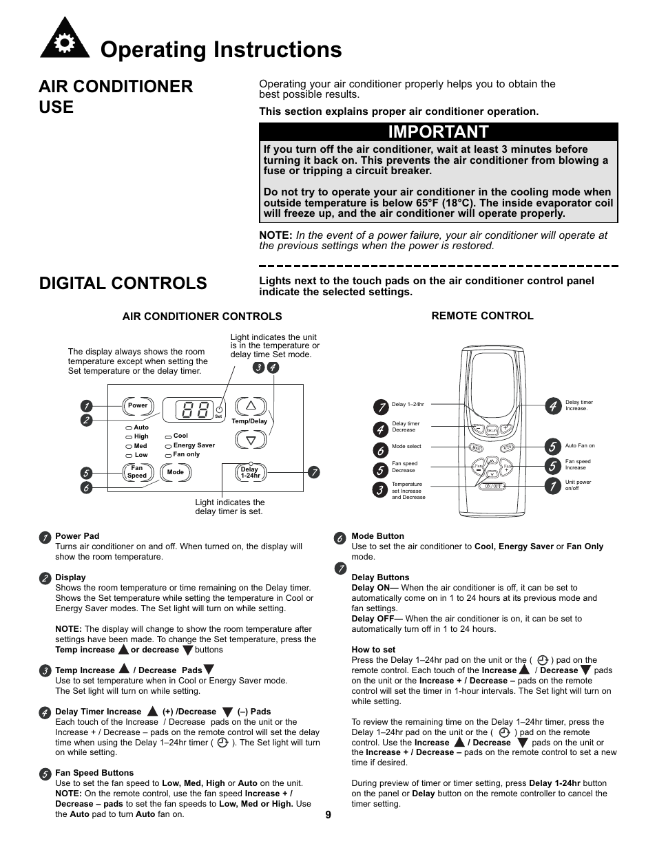 Operating instructions, Air conditioner use, Important