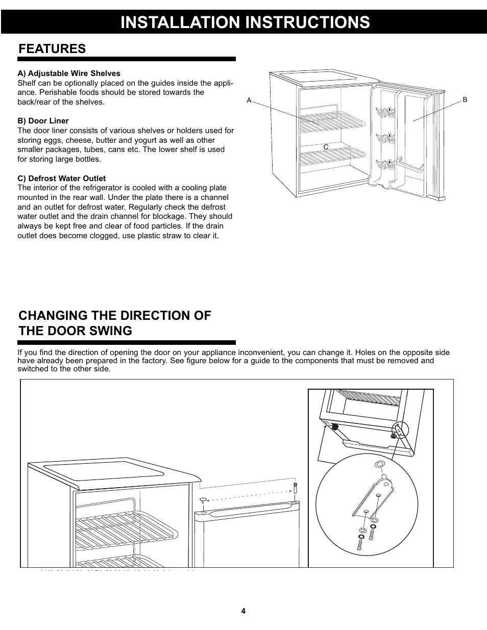 Installation Instructions Features Changing The Direction