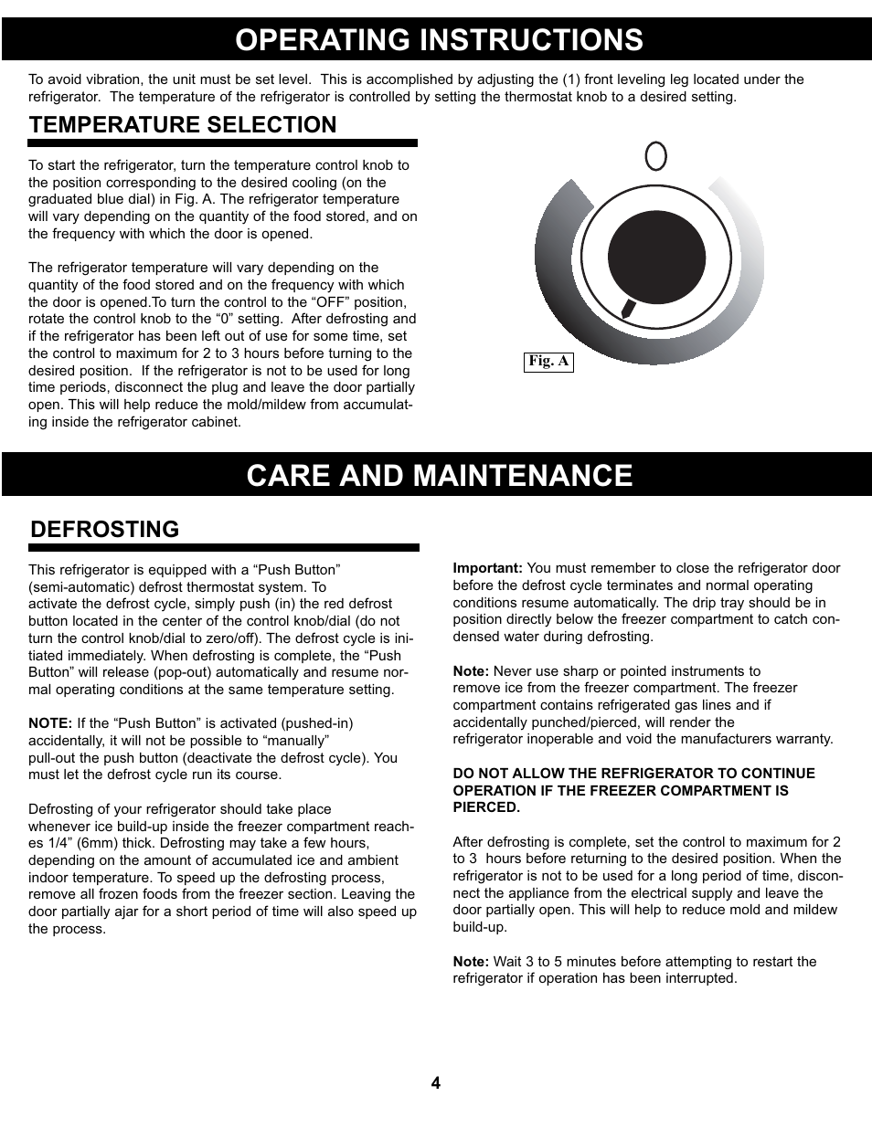 Operating instructions, Care and maintenance, Temperature