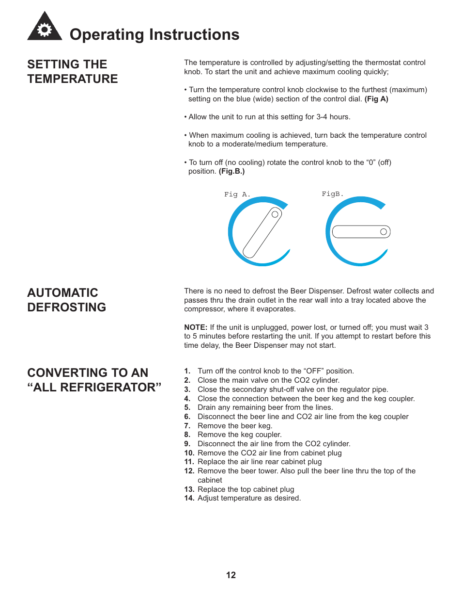 Operating instructions, Setting the temperature, Automatic