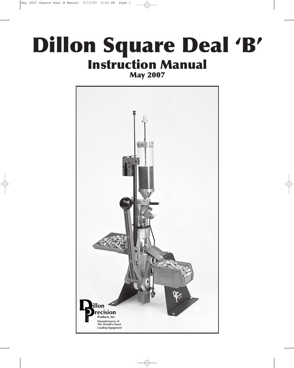 dillon precision square deal  u0026 39 b u0026 39  user manual