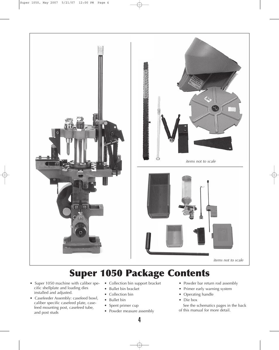Super 1050 package contents | Dillon Precision Super 1050 User