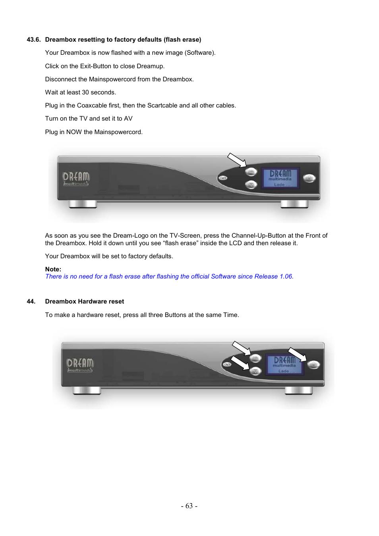 Dreambox hardware reset | Dream Property DM7000 User Manual