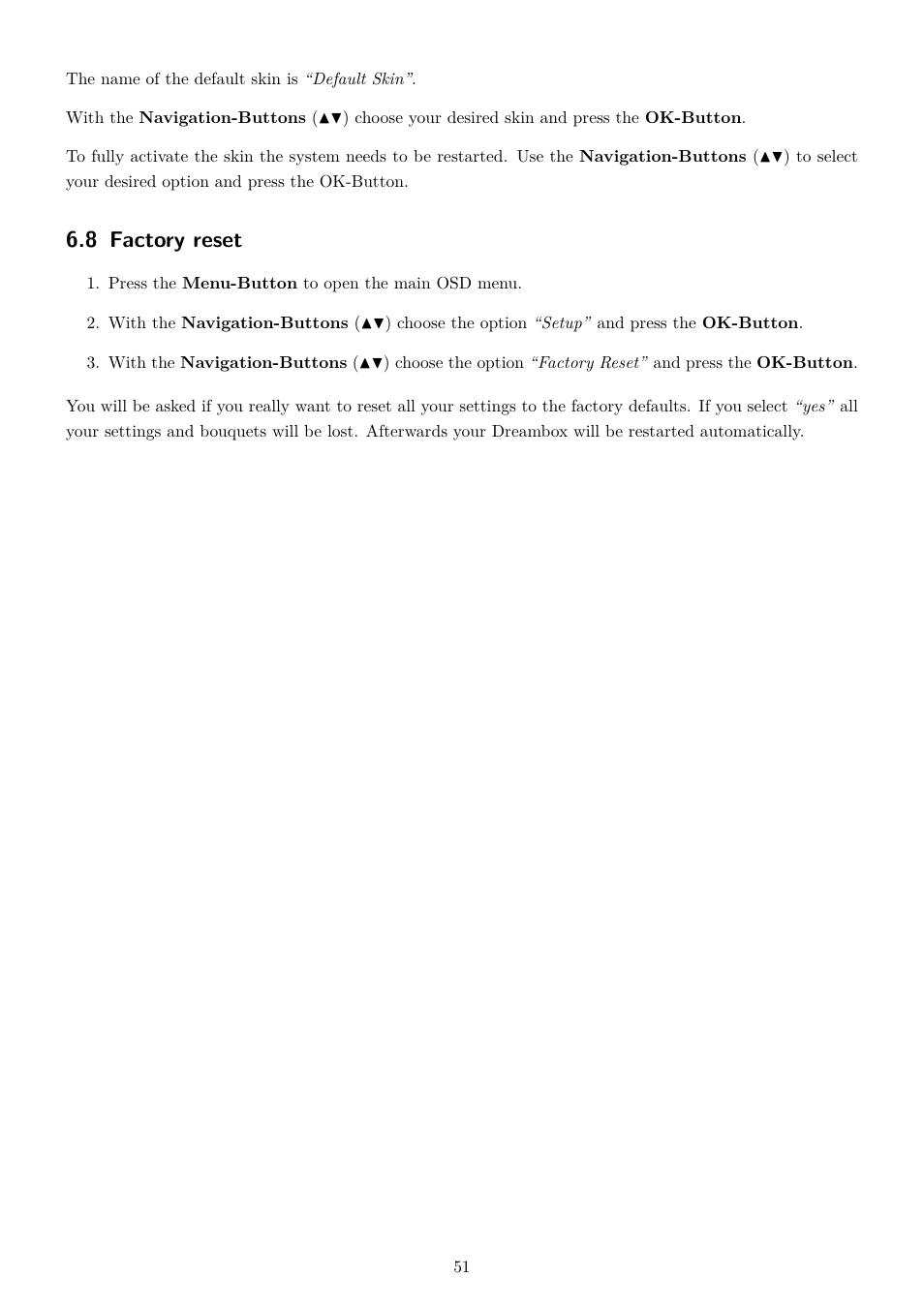 8 factory reset | Dream Property DM800 HD se User Manual