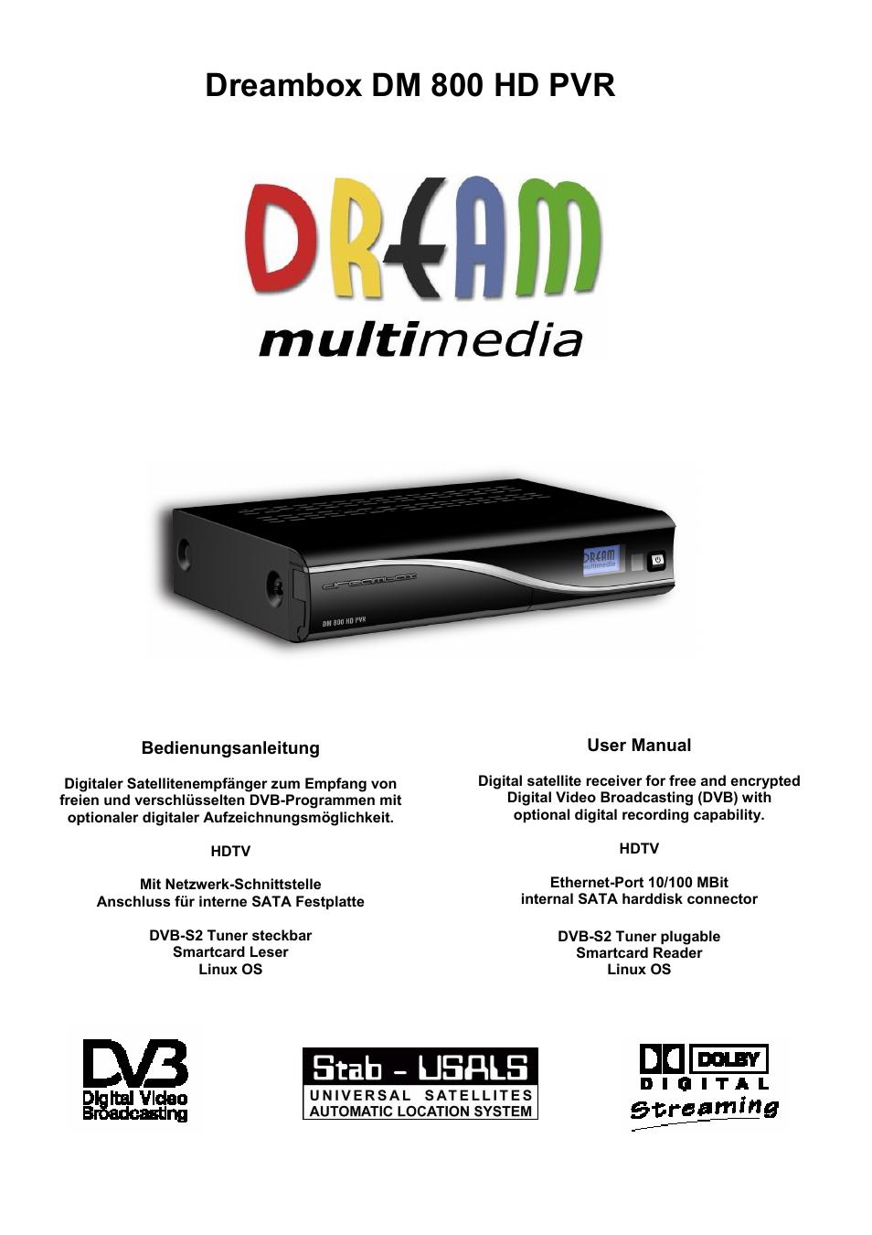 dream property dm800 hd pvr user manual 110 pages rh manualsdir com Dream Box DM800 HD DM800 CMT