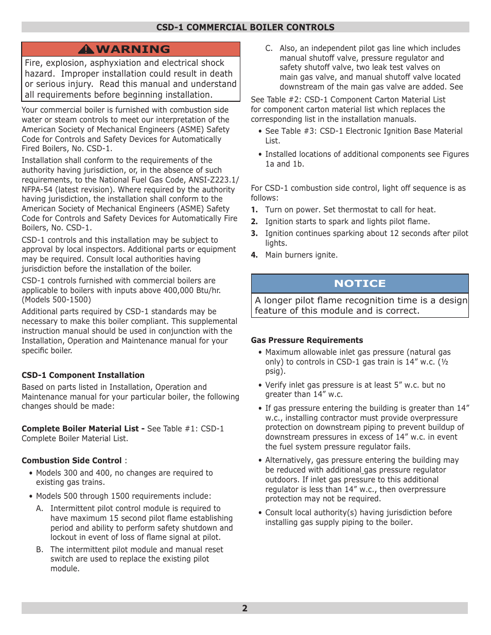 Warning | Dunkirk D249 Series Commercial Boiler User Manual | Page 2 ...