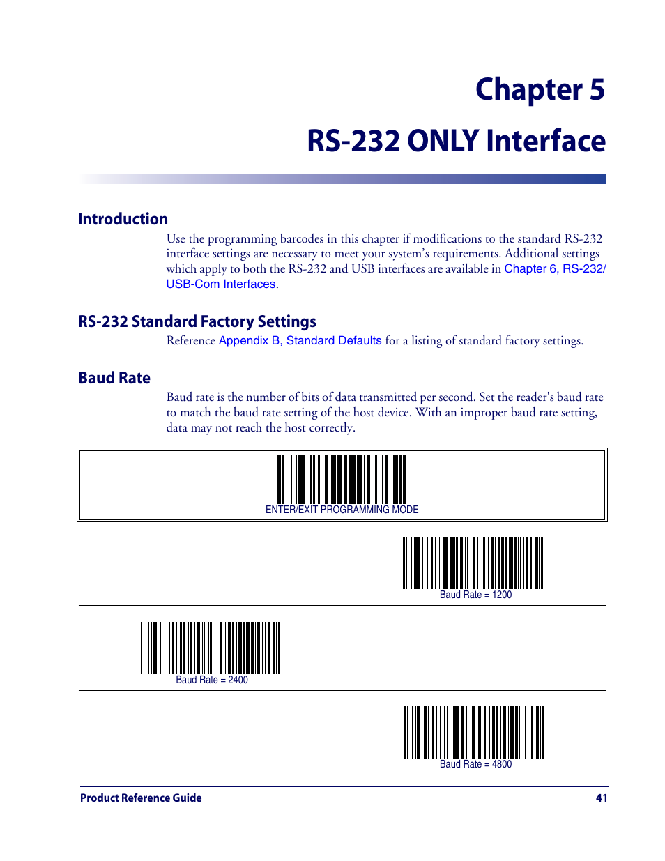 Chapter 5 rs-232 only interface | Datalogic Scanning QUICKSCAN QD2100 User  Manual | Page