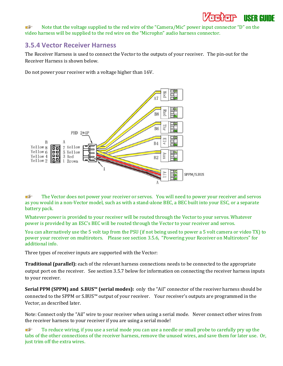 User guide, 4 vector receiver harness | Eagle Tree Vector User Manual |  Page 19