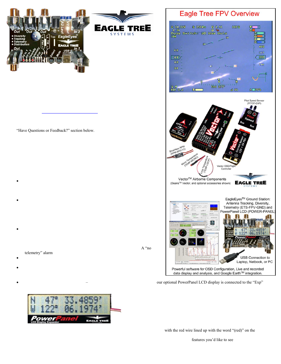 Eagle Tree Eagleeyes Fpv Station User Manual 23 Pages Vector Osd Wiring Diagram