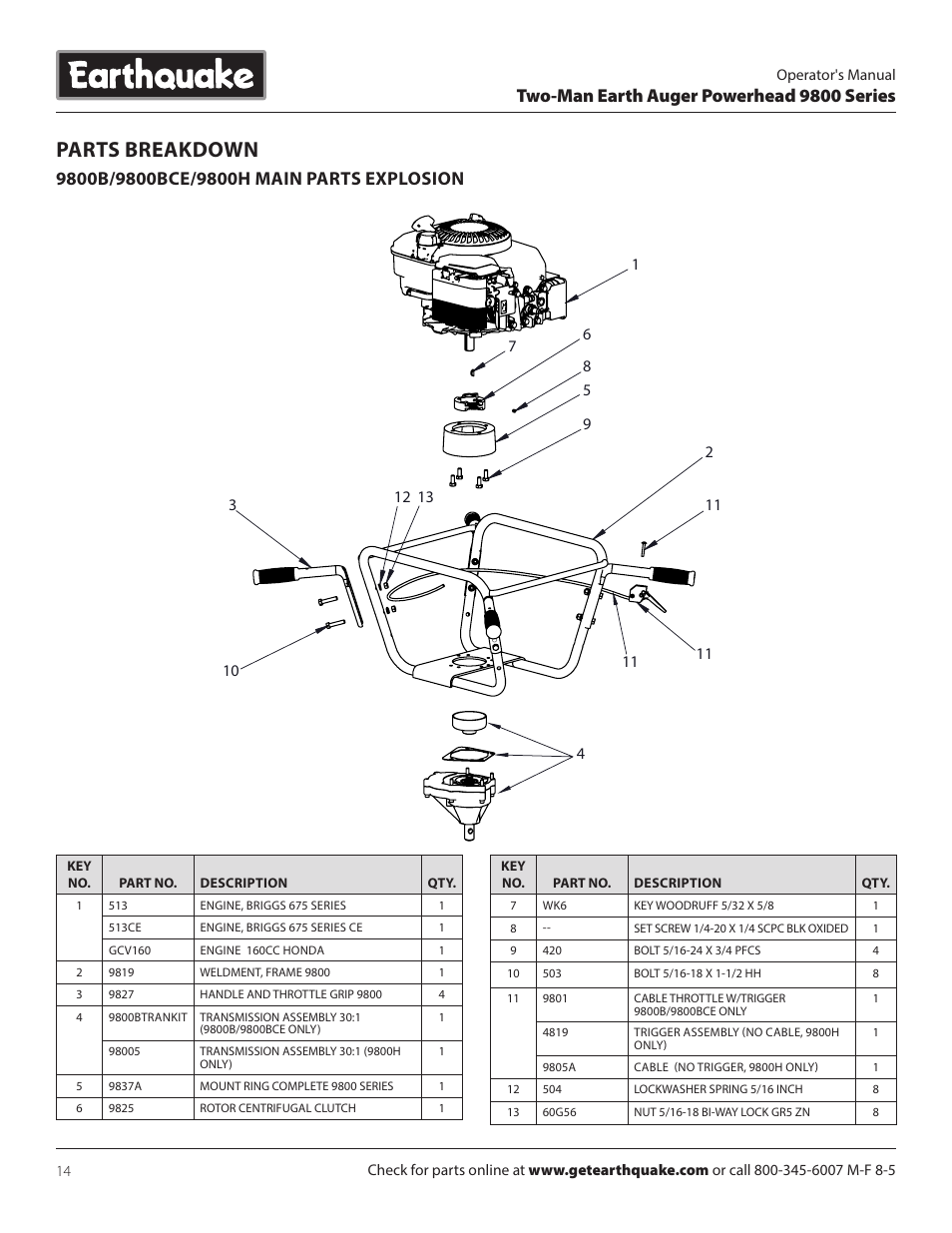 Parts Breakdown Two Man Earth Auger Powerhead 9800 Series