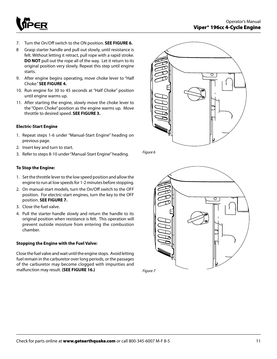 Viper 196cc 4 Cycle Engine Earthquake 9060300 User Manual Page Four Diagram 11