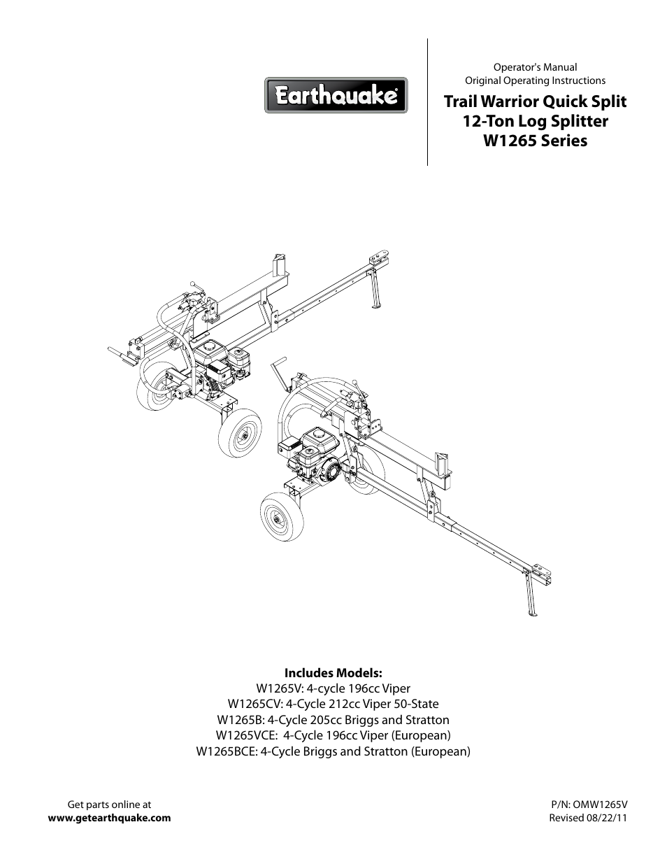 earthquake w1265v user manual