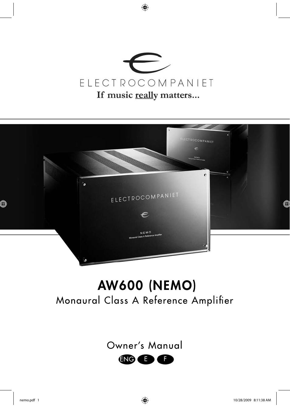 electrocompaniet nemo user manual 20 pages rh manualsdir com Cartoon Manual Service Manuals