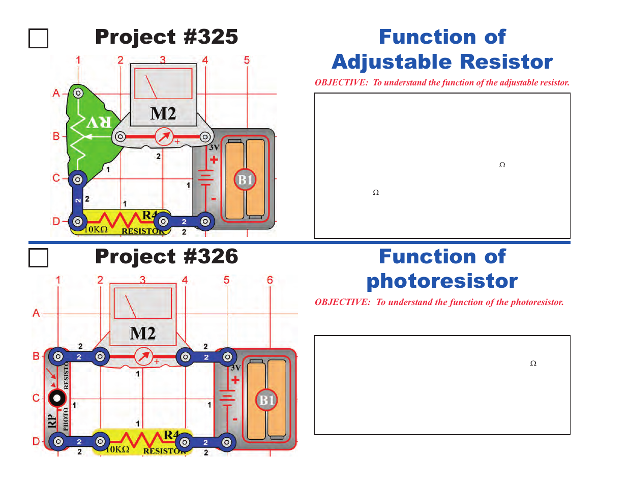 Project 325 Function Of Adjustable Resistor 326 Snap Circuits Manual Photoresistor Elenco Projects 306 511 User Page 16 64