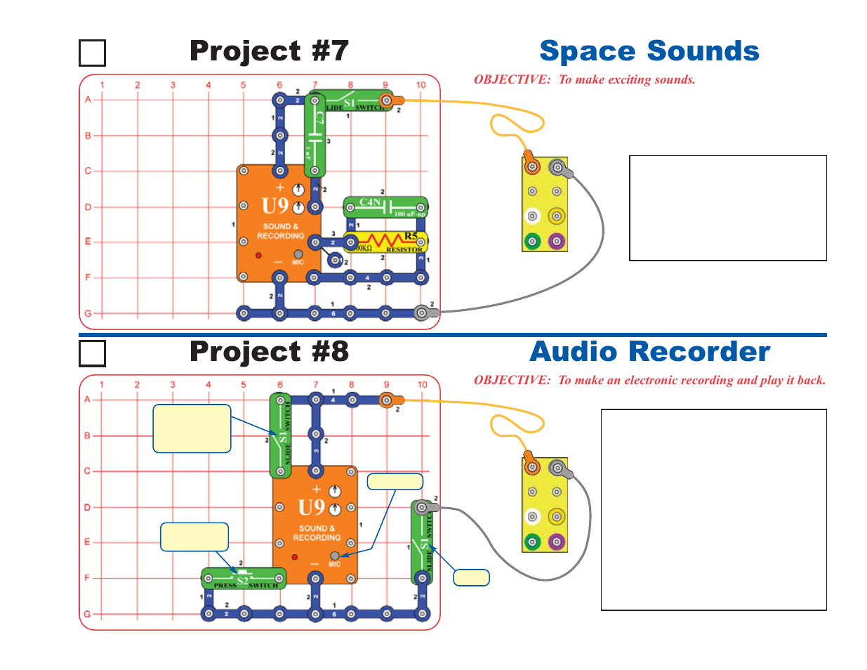 Space Sounds Project 7 Audio Recorder 8 Elenco Deluxe Snap Circuits Sound Roverreg User Manual Page 17 48