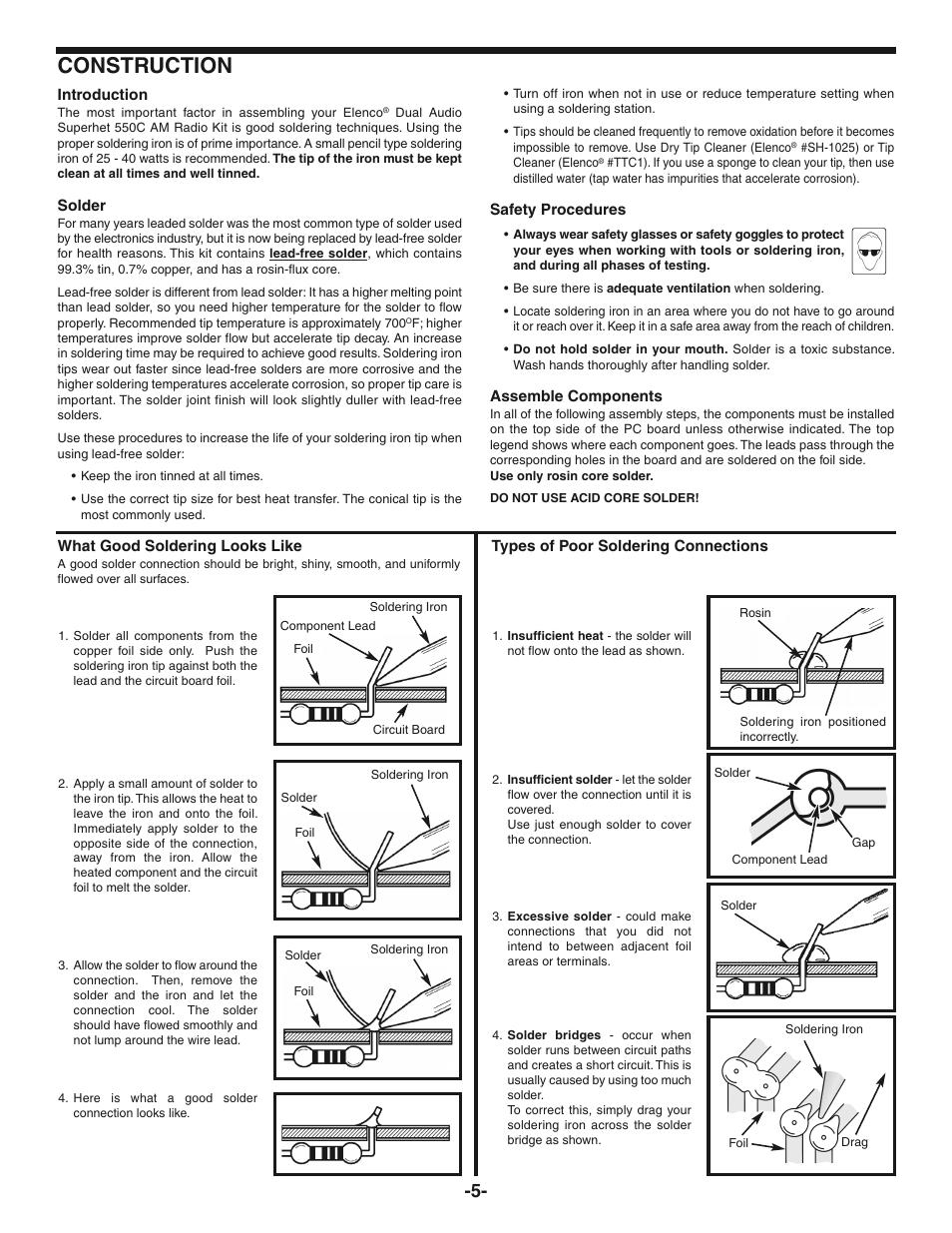 Construction | Elenco AM Radio Kit User Manual | Page 6 / 36