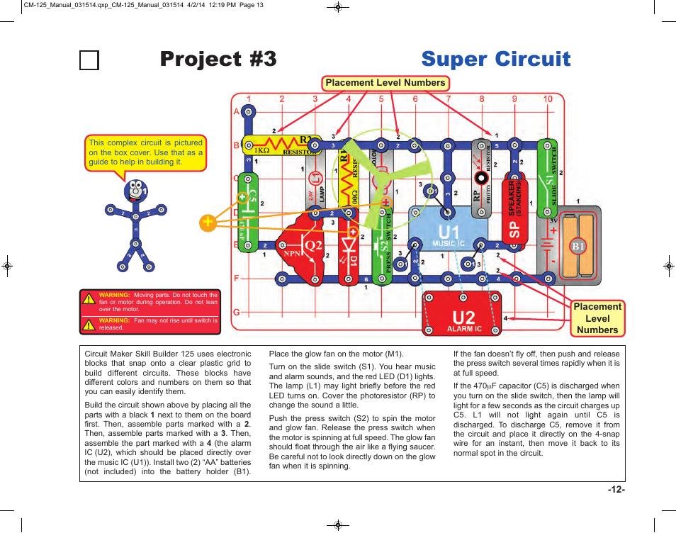 project 3 super circuit elenco circuit maker skill builder 125 rh manualsdir com Circut Maker Automated Circuit Maker