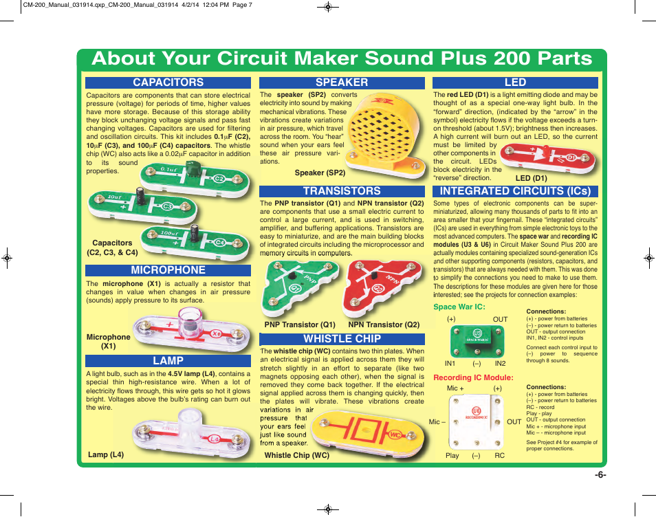 About your circuit maker sound plus 200 parts, Speaker whistle chip ...