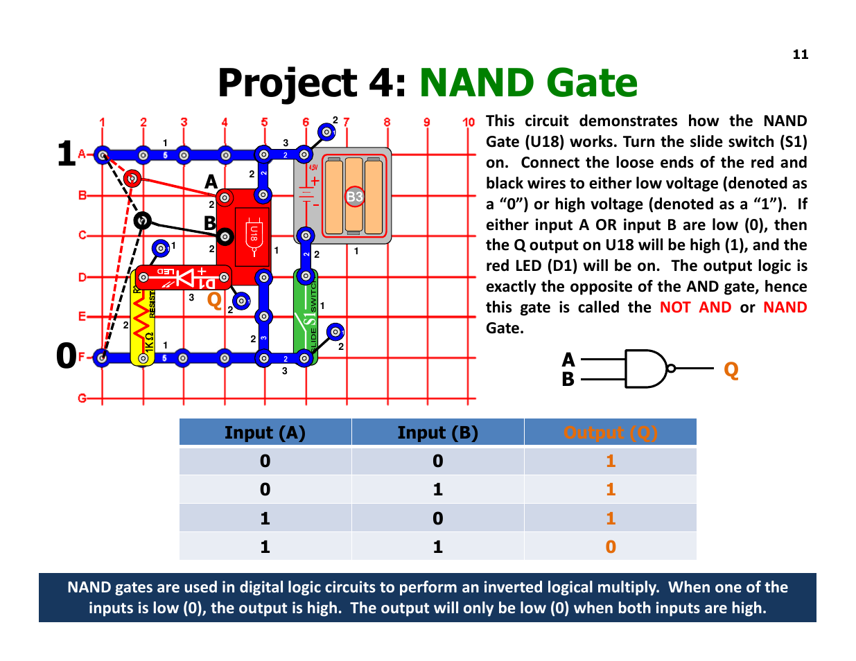 Project 4 Nand Gate Aq B Ab Q Elenco Understanding Logic Gates Circuit Diagram Using And Circuits User Manual Page 11 42