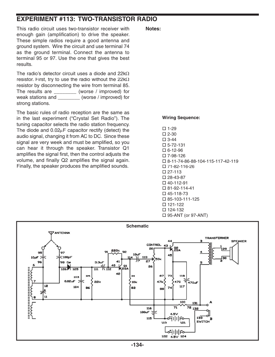 Experiment #113: two-transistor radio | Elenco 130-in-1 Electronics  Playground User Manual | Page 134 / 160