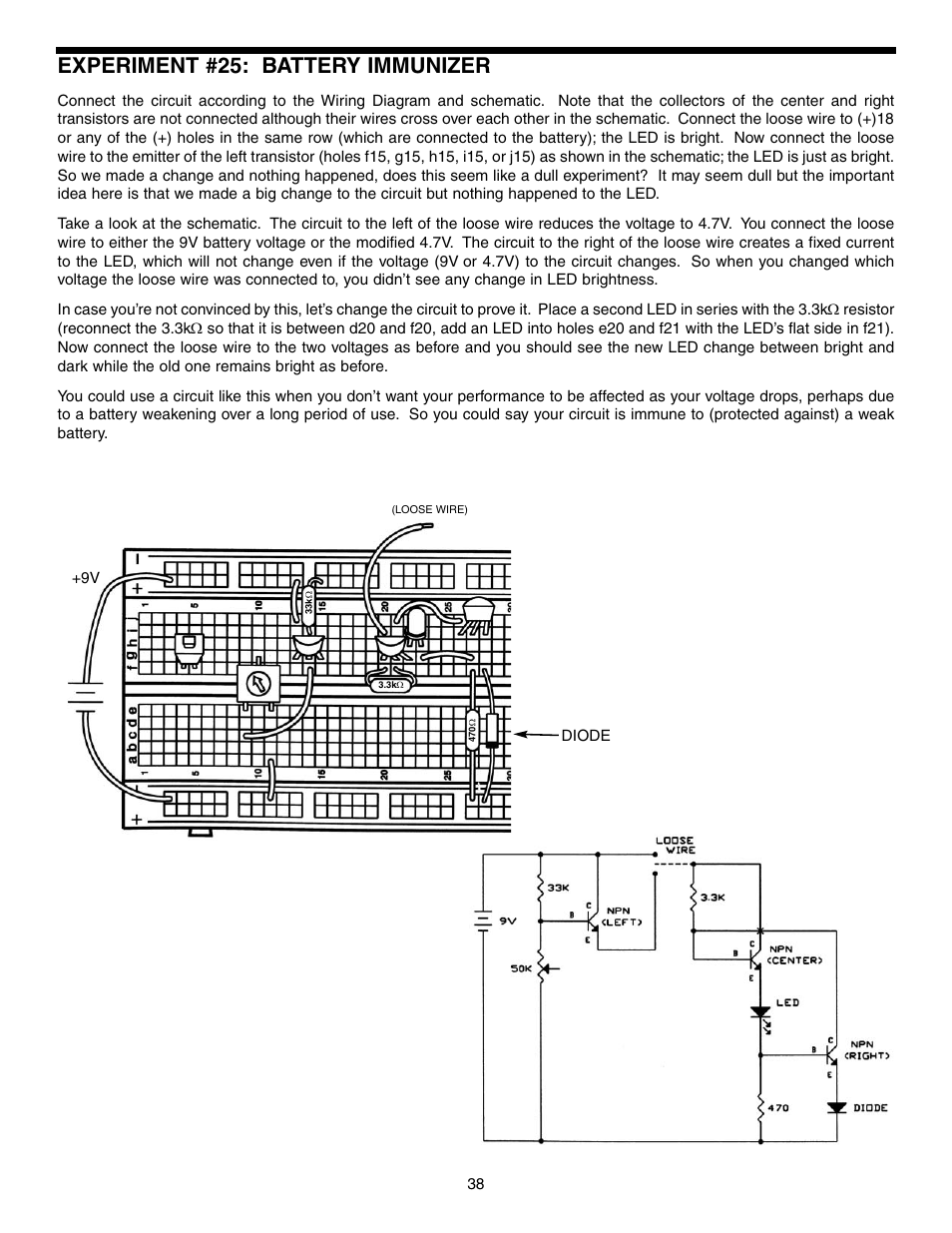 Experiment #25: battery immunizer | Elenco Basic Electronic Experiments User  Manual | Page 38 / 72