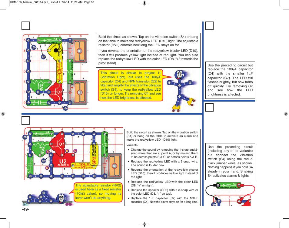 project 83 super vibration light project 85 vibration alarms rh manualsdir com Snap Circuits Extreme Elenco Snap Circuits Motion Detector