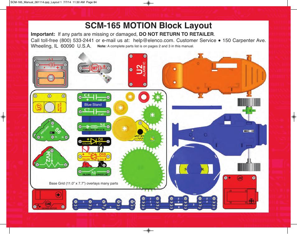 Scm-165 motion block layout   Elenco Snap Circuits Motion