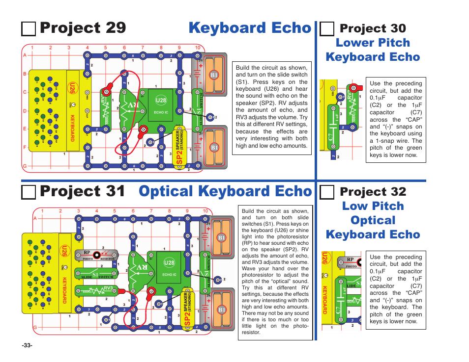 Project 29 keyboard echo, Project 31 optical keyboard echo, Project