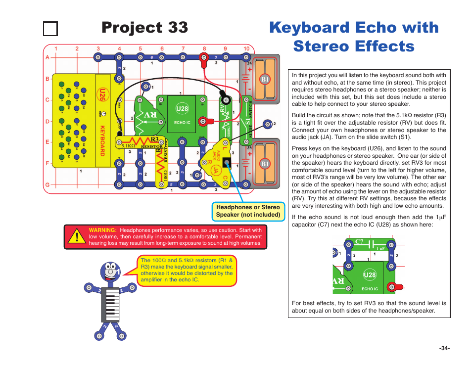 Project 33, Keyboard echo with stereo effects | Elenco Snap