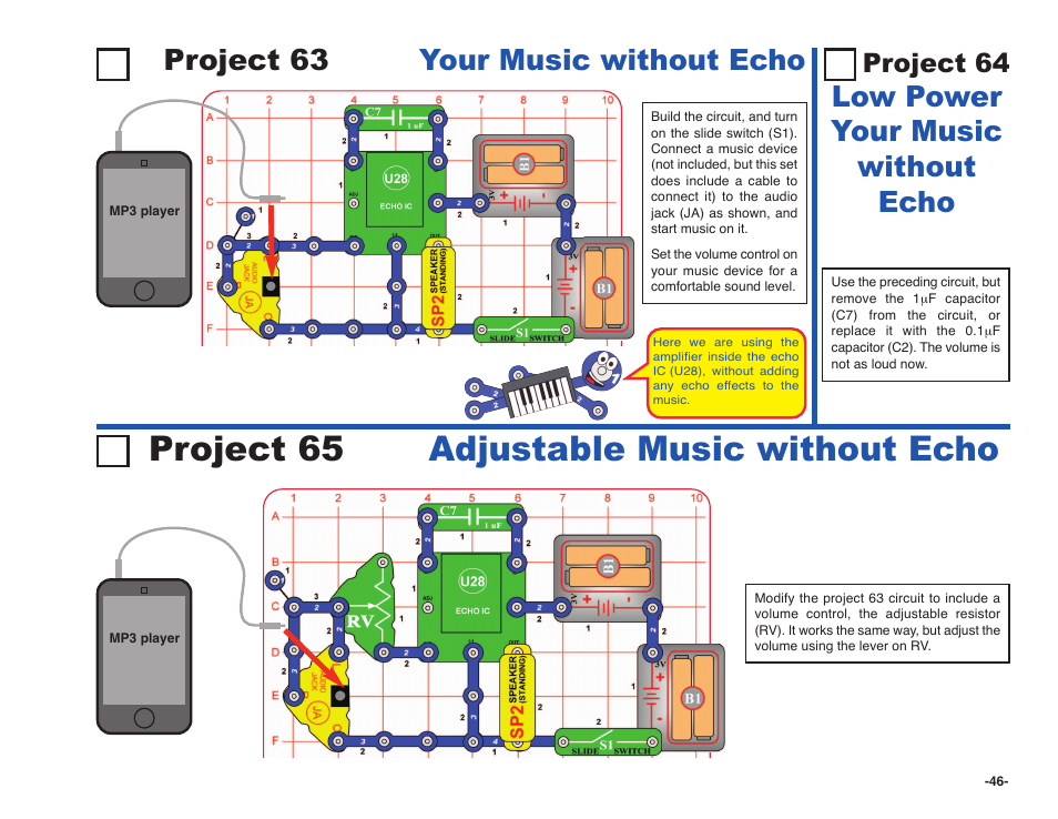 Project 65 adjustable music without echo, Project 63 your music