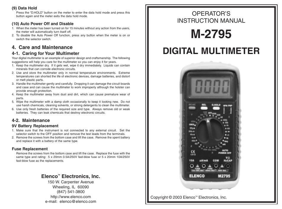 Elenco 3 12 Digit Cap Trans Freq User Manual 4 Pages