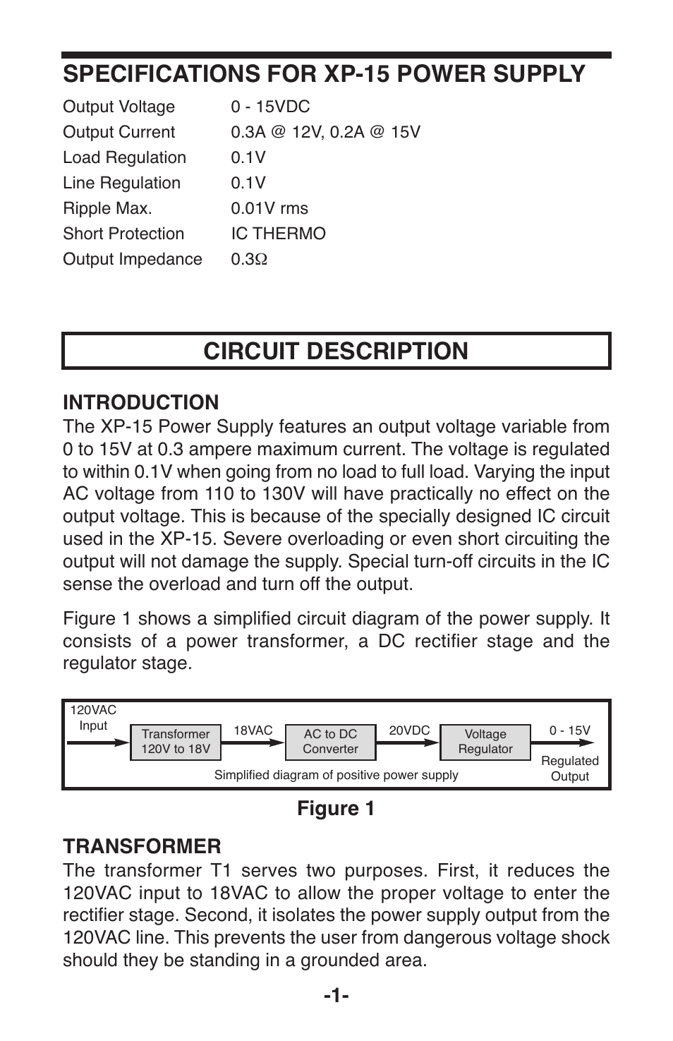 Circuit Description Specifications For Xp 15 Power Supply Figure 1 Variable Voltage Autotransformer Wiring Diagram Image Elenco User Manual Page 2 8