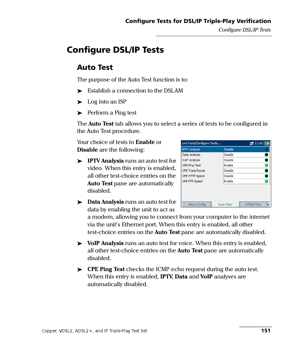 Configure dsl/ip tests, Auto test | EXFO VDSL2 User Manual | Page