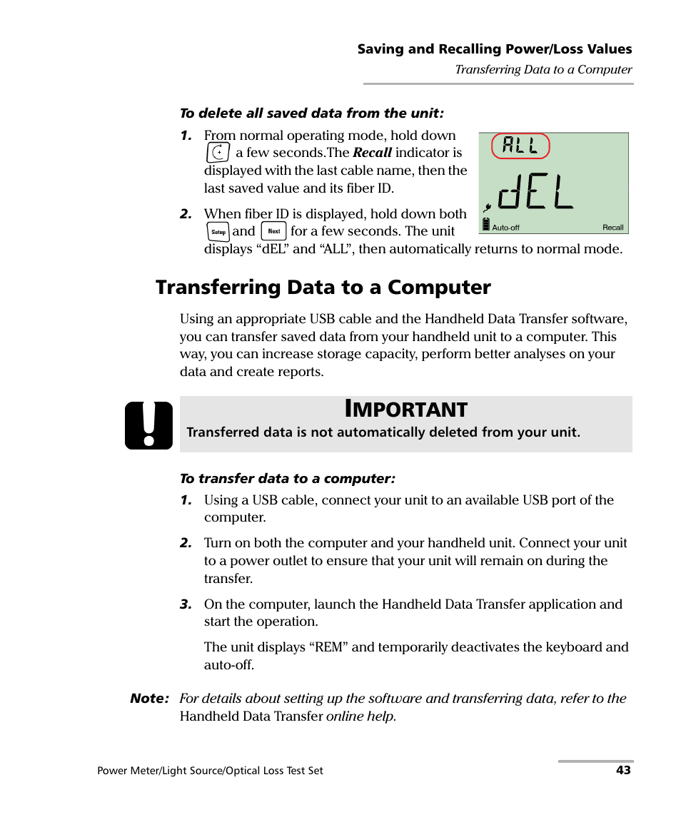 Transferring Data To A Computer Mportant Exfo Fpm 600 Power Meter Auto Off Source User Manual Page 49 79