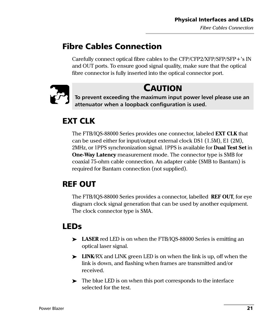 Fibre cables connection, Ext clk, Ref out | EXFO FTB/IQS-88000