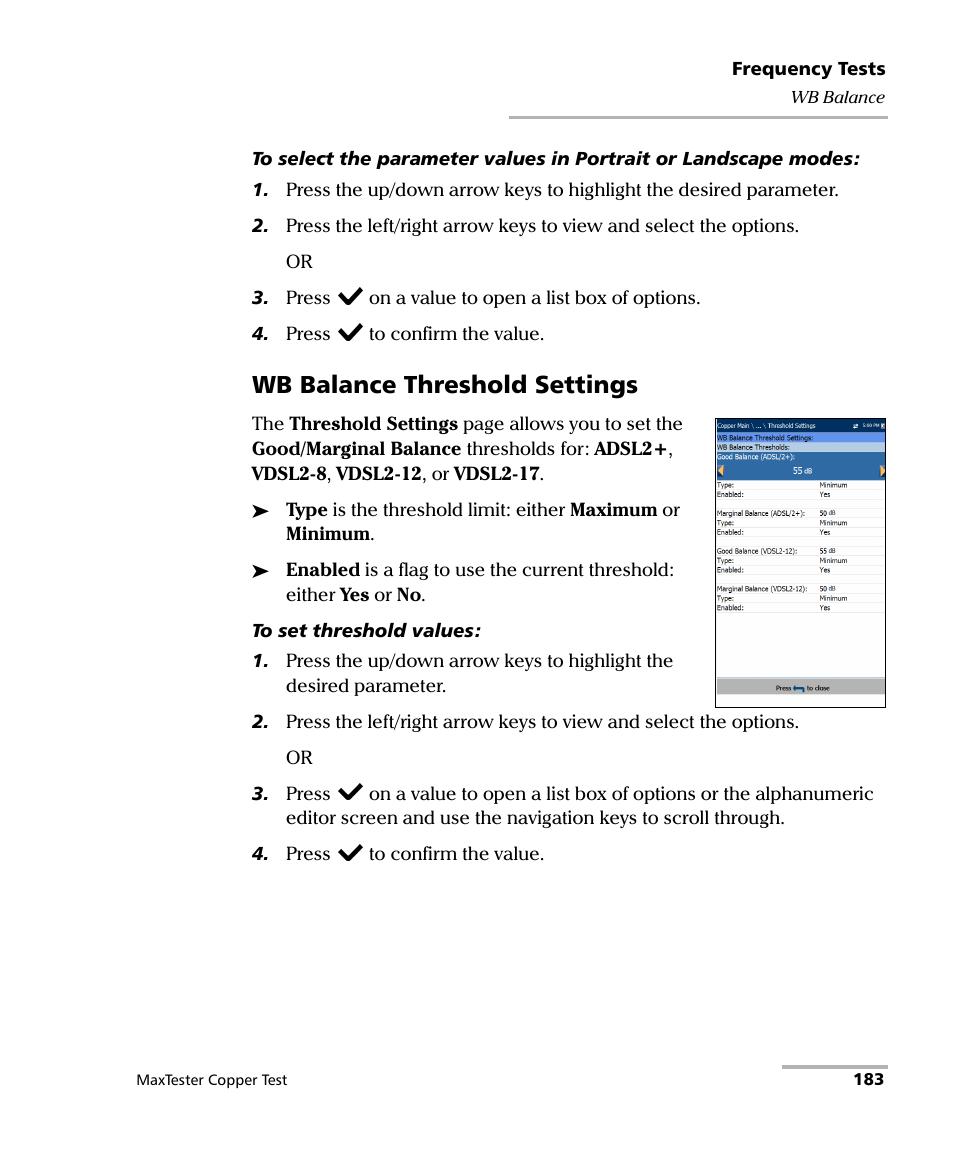 Wb balance threshold settings | EXFO MaxTester MAX-610 User