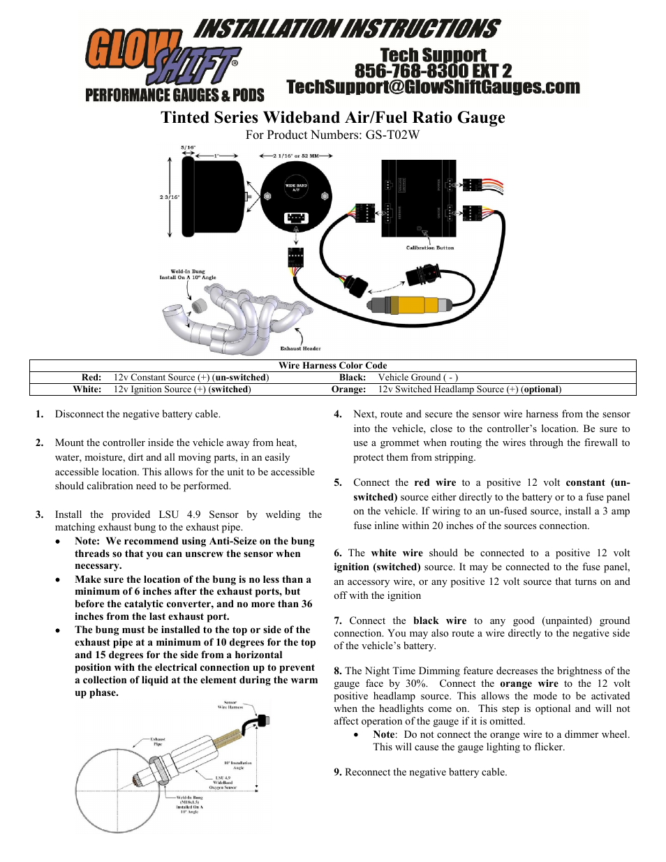 Glowshift Wideband Air Fuel Ratio Gauge W Datalogging Output User Manual 3 Pages