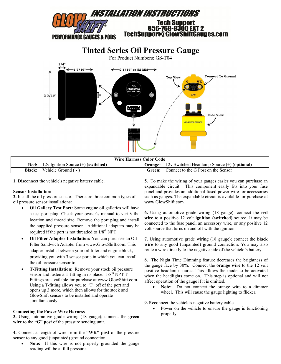 Glowshift Oil Pressure Gauge User Manual