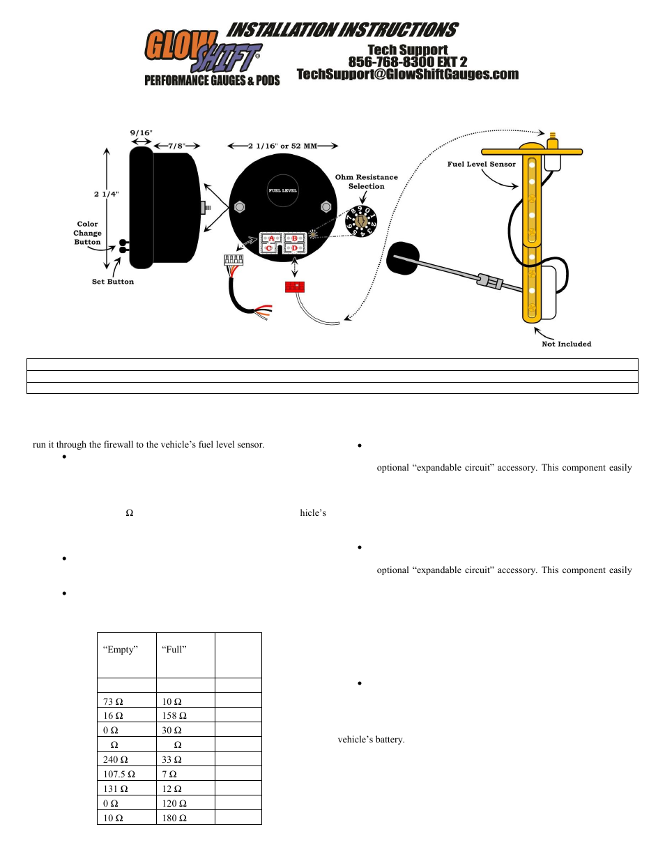 Fuel Level Sensor Wiring Just Another Diagram Blog Gm Glowshift Gauge User Manual 3 Pages Rh Manualsdir Com 2006 Wrangler Sender
